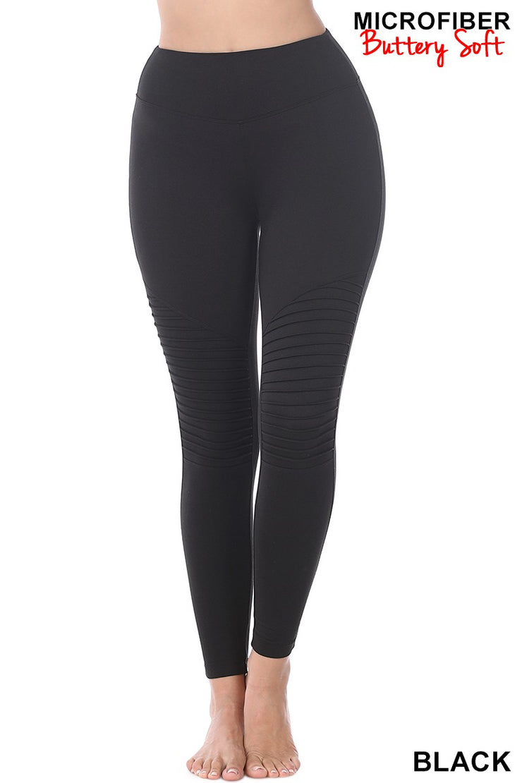 BRUSHED MICROFIBER WIDE WAISTBAND FULL LENGTH MOTO LEGGINGS