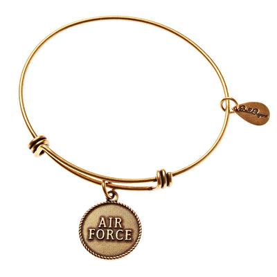 BellaRyann - Air Force Expandable Bangle Charm Bracelet in Gold