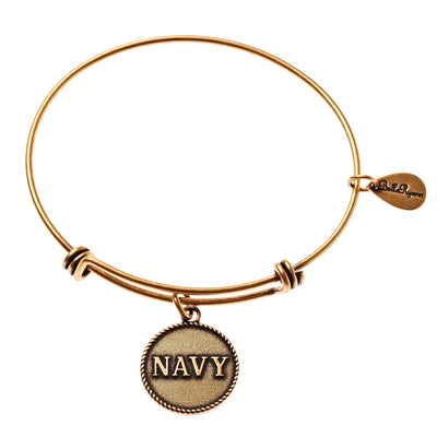 BellaRyann - Navy Expandable Bangle Charm Bracelet in Gold