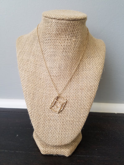 Worn Goldtone 3D Cube Necklace