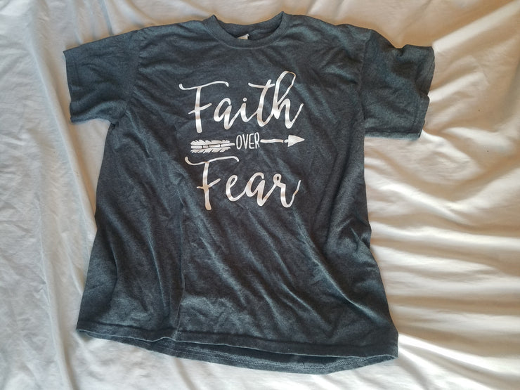Faith Over Fear Script and Arrow Design