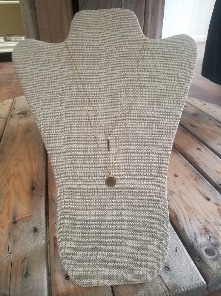 Circle Necklace - 14 Karat Textured Circle Coin Necklace