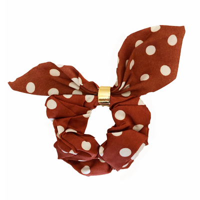Headbands of Hope - Burnt Orange Polka Dot Tie Scrunchie