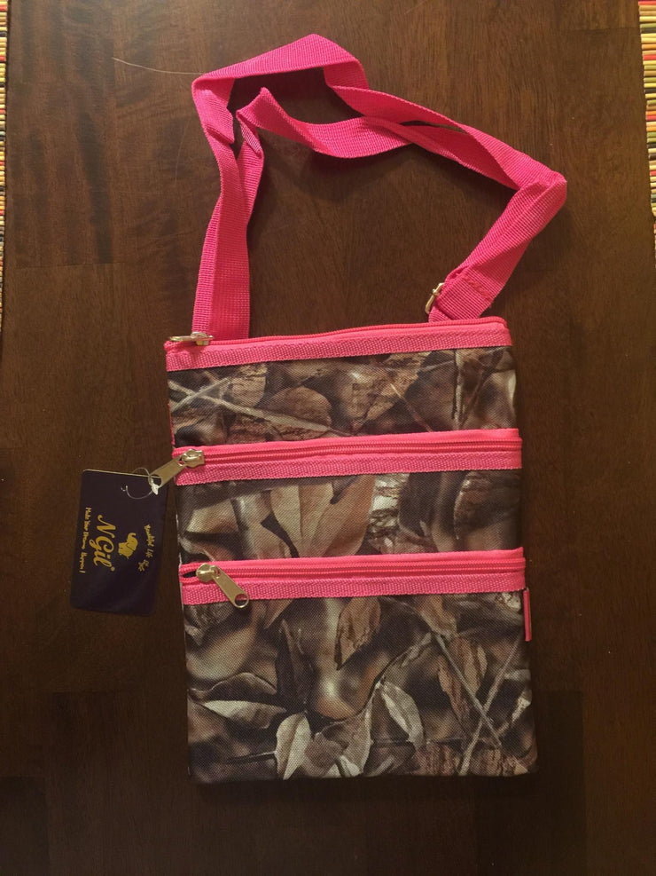 Camo and Pink Canvas Crossbody Bag