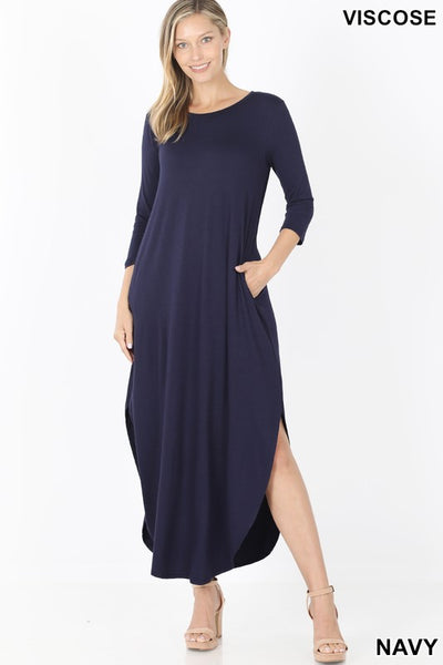 3/4 SLEEVE ROUND NECK MAXI DRESS WITH SIDE SLITS & POCKETS