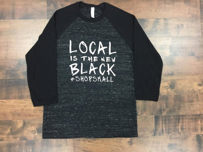Local is the new Black Unisex fit Black Marble Raglan 3/4 Sleeve Raglan Graphic T-shirt
