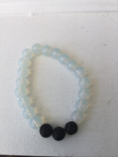Black and white Essential Oil Diffusing Bead Bracelet