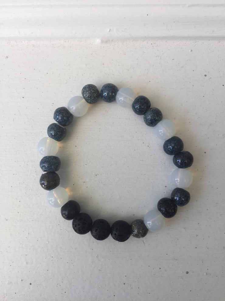 Black, Gray, White Essential Oil Diffusing Bead Bracelet