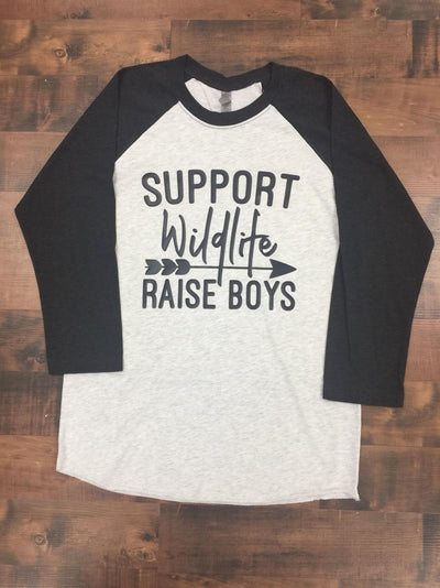 Support Wildlife Raise Boys Women's 3/4 Sleeve Triblend Raglan T-shirt