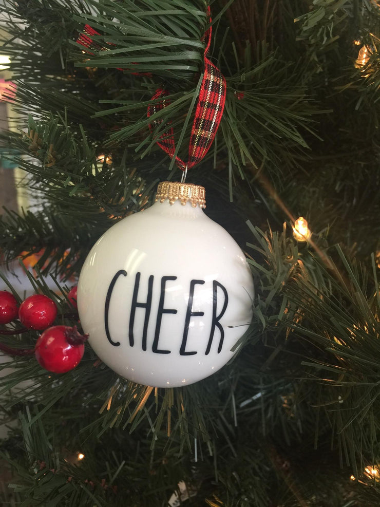 """Cheer"" Glass Ornament"