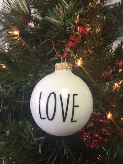 """Love"" Glass Ornament"