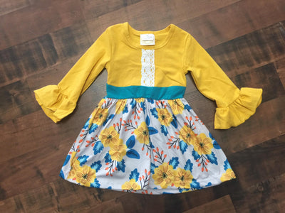 Yellow Ruffle Sleeve and Floral Toddler Dress