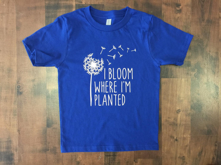 """I bloom where I'm planted"" Military Child Graphic T-shirt"