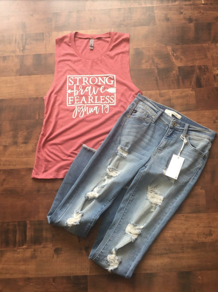 Strong Brave Fearless Ladies' Muscle Tank