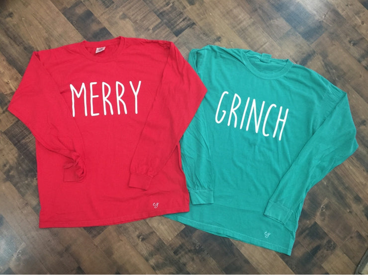Merry & Grinch Christmas Simple Sayings Comfort Colors Long Sleeve Shirt Set