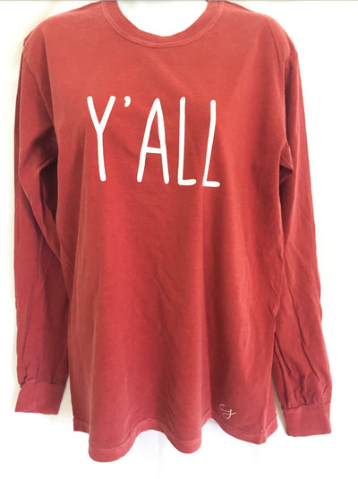 Y'all Simple Sayings Long Sleeve Comfort Colors Shirt