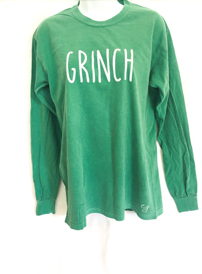Grinch Christmas Simple Sayings Comfort Colors Long Sleeve Shirt