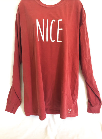 Nice Christmas Simple Sayings Comfort Colors Long Sleeve Shirt