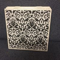 Black and White Fleuris Set of 4 Coasters