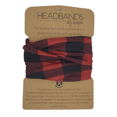 Headbands of Hope - Red Buffalo Plaid Recycled Tube Turban