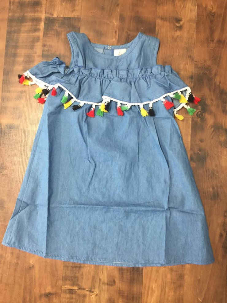 Blue Cold Shoulder Girls' Dress with Multi-Color Tassels