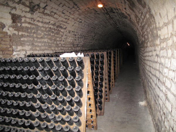 champagne aging in the cellars in epernay france