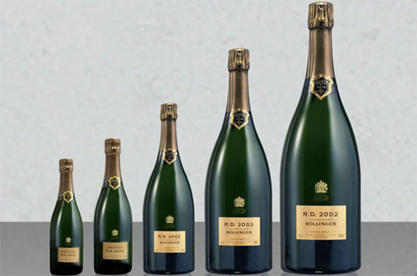 Different sizes of Champagne Bottles