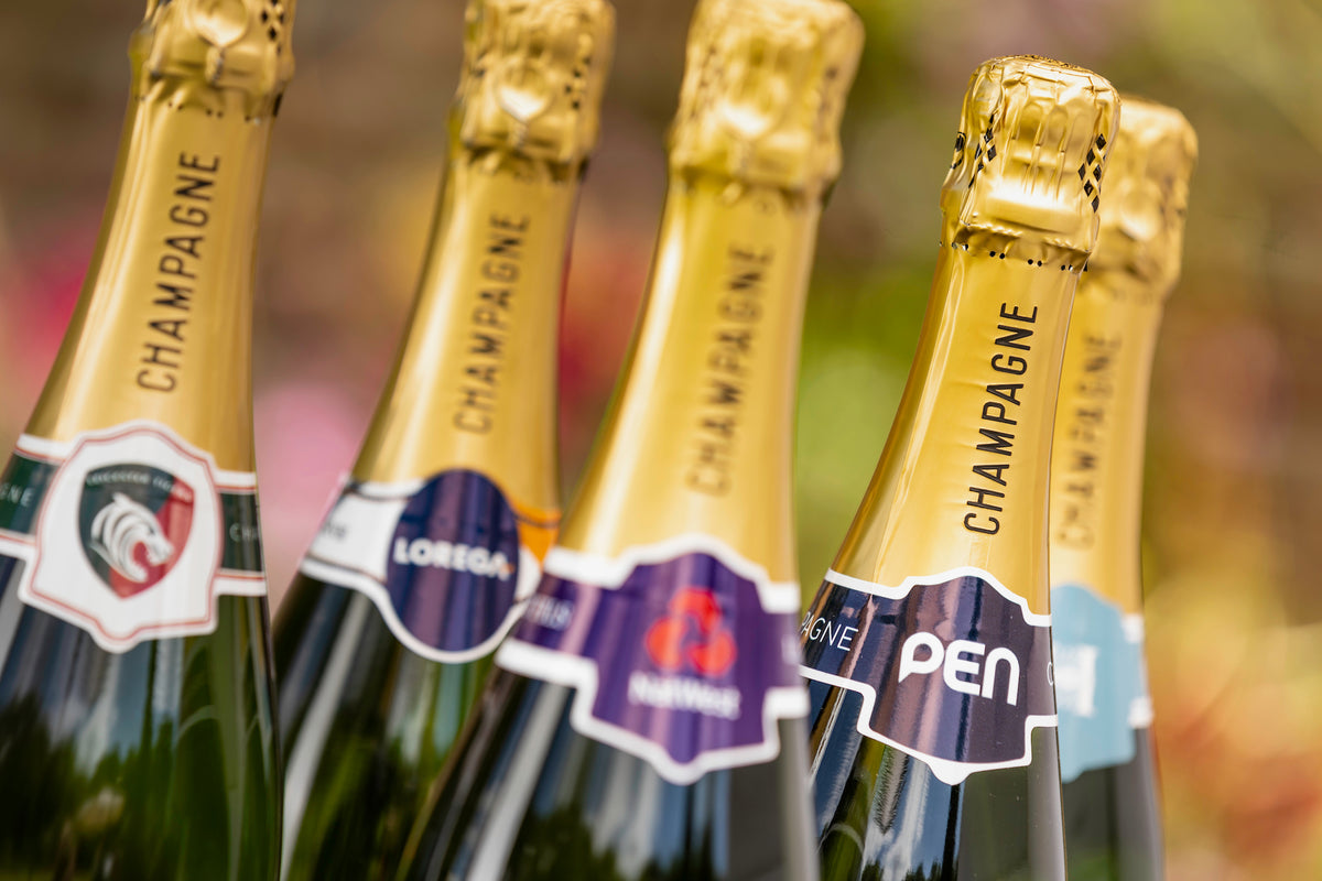 5 Personalised bottles of champagne with branded labels