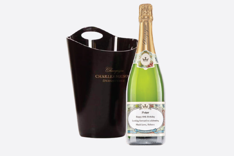 750ml bottle of personalised champagne with ice bucket