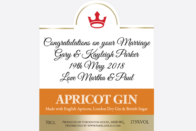 personalised apricot gin | branded gin park lane