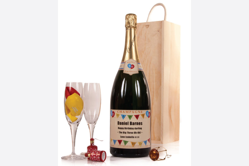 Birthday magnum of personalised champagne with wooden box