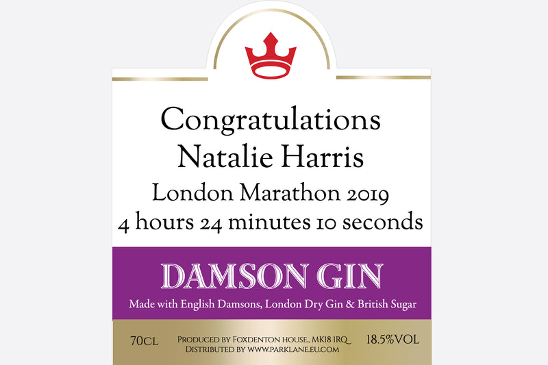 Personalised Damson Gin | Branded label Park Lane Champagne