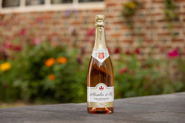 personalised champagne rose (750ml) on bench