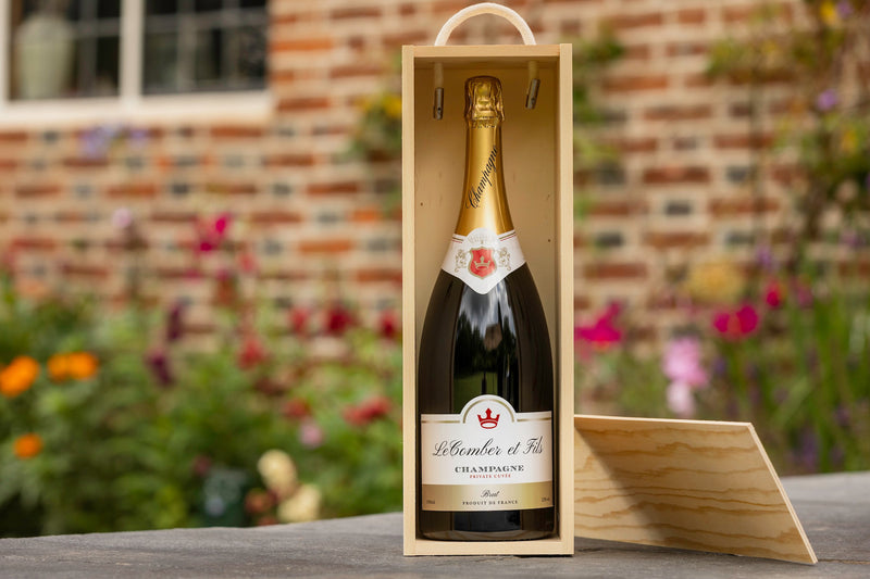 Magnum champagne in wooden gift box
