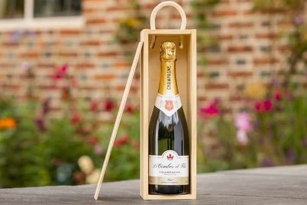 Personalised Champagne bottle in a wooden box