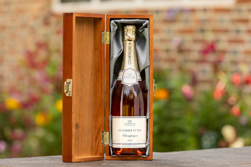 Champagne wooden box gift
