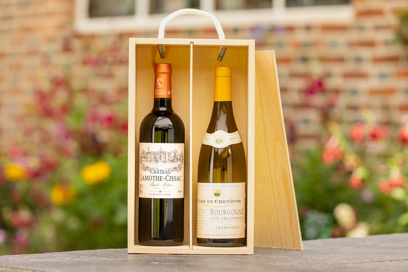 Bottle of Chateau Lamothe and bottle of bourgogne