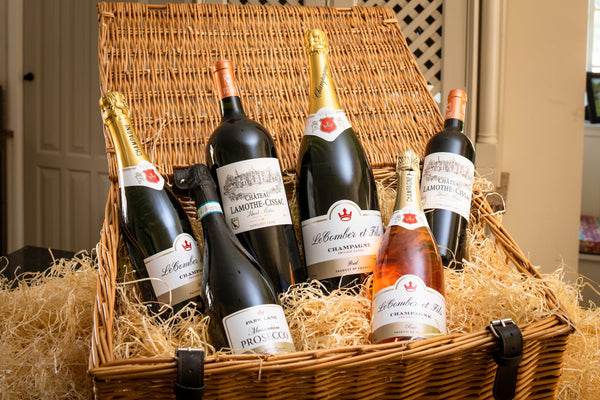 5 bottles | Prosecco, Rose Champagne, White Champagne, Red wine and Magnum Champagne in hamper