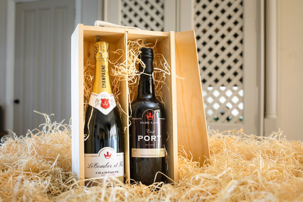 bottle of champagne and bottle of port | personalised hamper