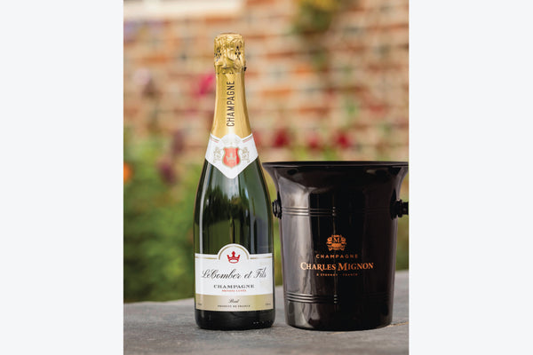 Personalised champagne bottle with ice bucket