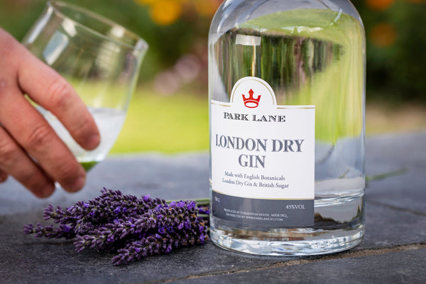 Bottle of London Dry Gin with personalised Corporate branding Park Lane