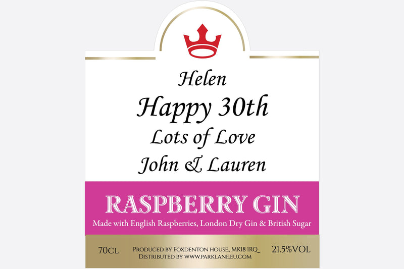 Personalised Raspberry Gin label