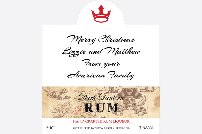 Personalised Rum Liqueur label by Park Lane Champagne