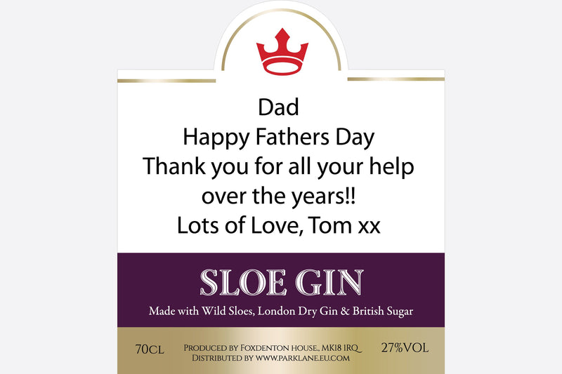 Happy Fathers Day message on Sloe Gin label