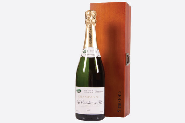 Bottle of corporate branded champagne presented in a luxury wooden gift box