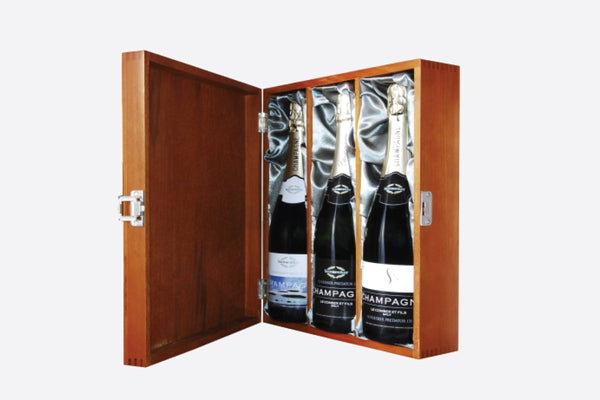 3 bottles of champagne in luxury gift box
