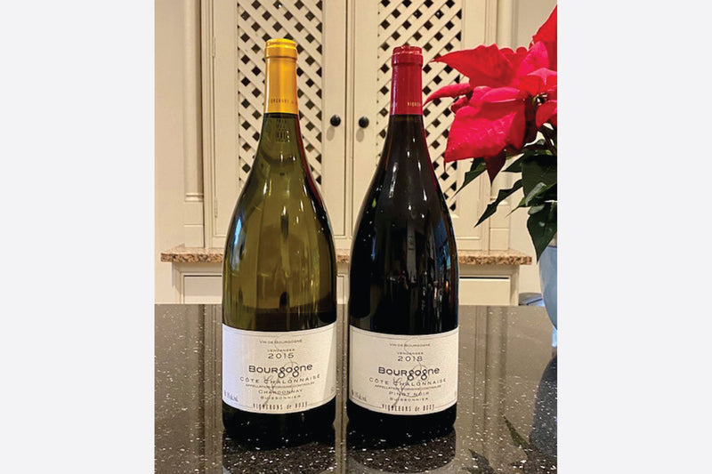 Pair of White Chardonnay & Red Pinot Noir Magnum Bottles from Burgundy