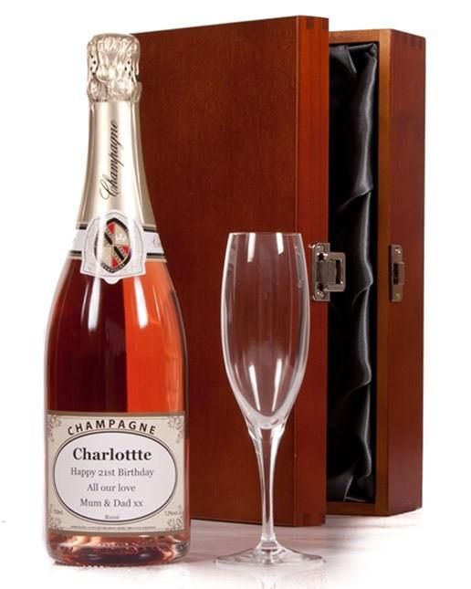Personalised Rose Champagne and Flute with Luxury Box