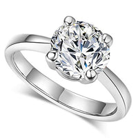 Beverly 6mm Round Brilliant Cubic Zirconium 4 Prong Tapered Cathedral Basket Solitaire