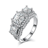 Brooke 7mm Princess Cubic Zirconium Halo Three Stone Engagement Ring or Anniversary Band